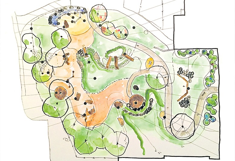 Site plan sketch of the new playground